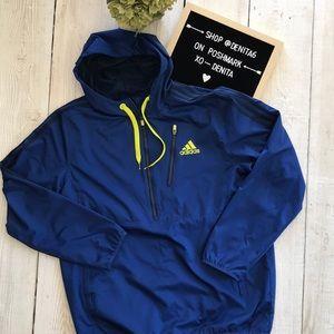 Adidas Hooded Windbreaker Half Zip Jacket Men's L